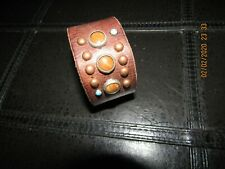 Distressed Brown Leather Wristband Handmade Tiger Eye, Antique Copper Studs 8.5