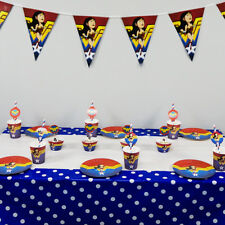 62pcs Wonder Woman Theme For 12 Kids Child Birthday Party Tableware Set Supplies