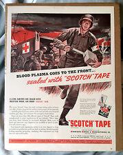 Large Vintage Scotch Tape Advert Ad War Ambulance WWII Fighting Blood Plasma