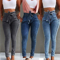 Womens High Waist Denim Jeans Stretchy Skinny Slim Jegging Trousers Pencil Pants