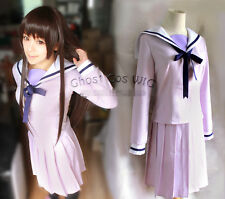 Noragami Stray God Iki Hiyori Cosplay Costume Kostüm Uniform rock Perücke wig