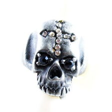 RING ghost SKULL monster pirate silver argent gray solid ONE SIZE LARGE cross