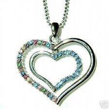 w Swarovski Crystal Rainbow Blue Heart Love Bridal Wedding Prom Pendant Necklace
