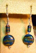 STERLING SILVER GENUINE CALSILICA EARRINGS  LEVER BACK  SPECTACULAR COLORS