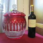 Bucket Bowl Punch Crystal Colour Red saint louis Model Tommy Signed