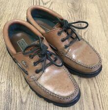 Vintage Lacoste Mens Tan Light Brown Deck Boat Shoes Lace Size 8 UK Moc Toe