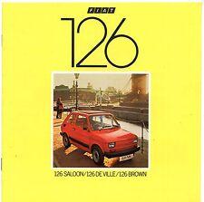 FIAT 126 1982-83 UK Opuscolo Vendite sul mercato DE VILLE MARRONE Saloon