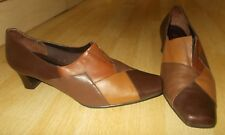 Ladies K by CLARKS Brown&Tan & Beige Leather Court Shoes - Size UK 7