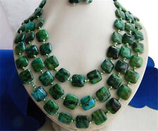 """3Strands 18-20"""" 14MM Malachite Green Baroque Freshwater Pearl Earrings Necklaces"""