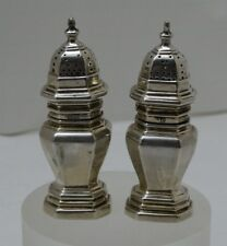 Pair Salt & Pepper shakers Sterling Silver - Crichton & Co Ltd made in England