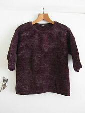 Dark Purple & Gold Knitted Acrylic Jumper in Size 16 - NWOT