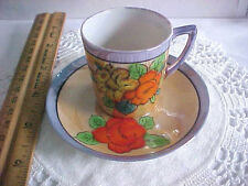 Vintage china demi tasse coffee tea cup saucer set Japan lusterware hand painted