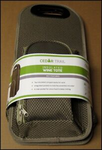 Cedar Trail Insulated Wine Tote Carrier with Glasses Opener Outdoor New CT-WT1