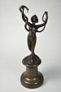 Antique Art Nouveau Bronze Figural Lady With Snake
