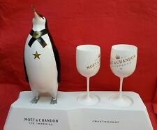Moet chandon champagne ice imperial penguin stand & 2 white goblets bar display