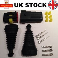 3 PIN vie Superseal TYCO AMP KIT Connettore Impermeabile Elettrici e Gomma Boot