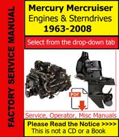 Mercury MerCruiser Engines Stern-Drives Service Repair (PDF) Manual (See Index)