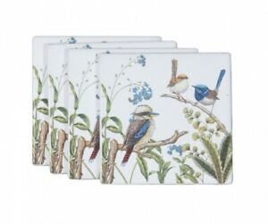 4pc Australian Birds Coasters Fine Bone China Chinaware Gift w Box