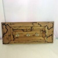 Burnt Wood Art Wood Pyrography 3 Post Jewelry Rack Scarves Coats Hats Recycled