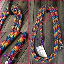 10ft Rainbow Rope Reins 12mm Horse Pony Tack Gear Horsemanship BNWT