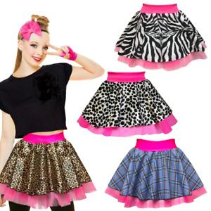 Girls ZEBRA NEON Skirt Leopard DIVA SKIRT fancy dress PRINT TARTAN