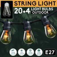 20M 24Pcs String Lights Bulbs Festoon Wedding Party Fairy Outdoor/Indoor Patio