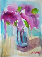 Mona Vivar original abstract flower floral contemporary art painting 14x11