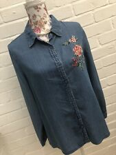 Dorothy Perkins Chambray Denim Blouse Shirt Size 14 Floral Embroidered Festival