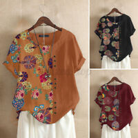ZANZEA Women Summer Retro Floral Cotton Casual Stitching Top Tee Shirt Blouse US
