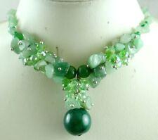 Natural aventurine &Crystal beads Ladies Handmade Gem pendant Jewellery Necklace