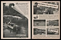 1944 and 1945 EVINRUDE Vintage Outboard Motor 2 AD LOT