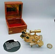 Nautical Brass Sextant Maritime Navigation Ships Marine Instrument in Wooden Box