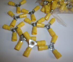 (20) 3 Way Wire Butt Connector Yellow Vinyl 12-10 Gauge AWG Ga Crimp On Terminal