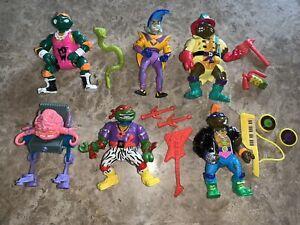 TMNT Vintage Figure Lot Of 6 Playmates Figures & accessories.