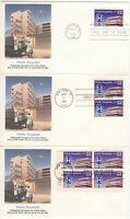 SSS: 3 pcs Fleetwood US FDC 1986 22c Public Hospitals PB4  Sc #2210
