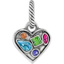 Brighton Jewelry Colorful Heart Charm Swarovski Crystals Silver Bead Jc0753