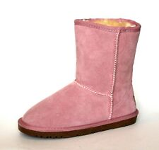 Deesha Girls UK 2.5 (EU 36) Baby Pink Fur Faux Suede Leather Winter Ankle Boots