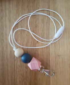 Handmade Lanyard - Lightweight wooden beads PINK & NAVY