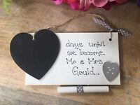 Personalised Engagement Gift Mr & Mrs couple gift plaque Wedding countdown sign