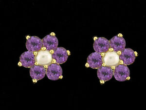 E058- Genuine 9ct Yellow Gold Natural Amethyst & Pearl Blossom Stud Earrings