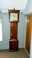 Small antique oak cottage 30 hour longcase grandfather clock, working order