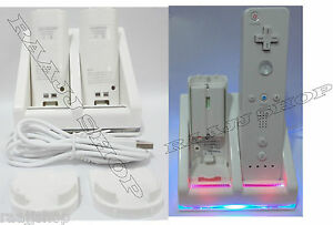 CHARGER DOCKING STATION + 2x RECHARGEABLE BATTERY PACK FOR WII REMOTE UK SELLER