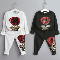 2pcs Mother & Daughter Women Girls Paillette Rose Family Matching Outfit Clothes