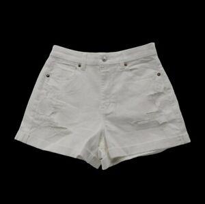 American Eagle Curvy Mom Short womens White Denim Shorts Cuffed Distressed sz 4