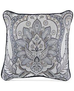 """Croscill Seren Chenille Damask Jacquard 18"""" Decorative Pillow - Blue / Silver"""
