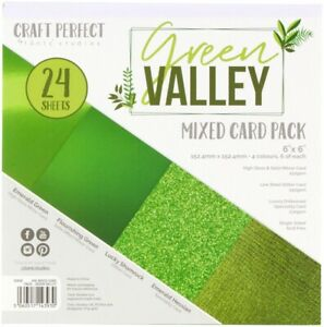 """Craft Perfect Mixed Card Pack 6""""X6"""" 24/Pkg-Green Valley"""