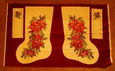 Cream/Burgundy Poinsettia Christmas Stocking Fabric Panel JoAnns International