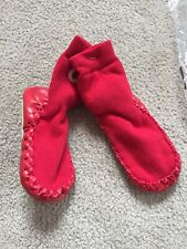 NWT Baby Hanna Andersson Red Slipper Socks Moccasins Sz 5-7