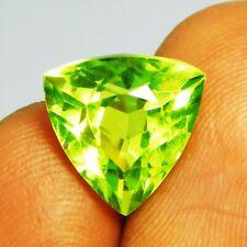 Natural Loose Gemstone 8.30 Ct Certified Trillion Shape Green Peridot