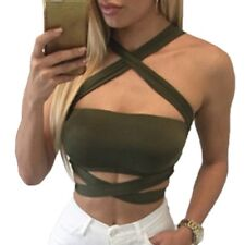Women Summer Sexy Criss Cross Halter Bandage Crop Top Tank Cut Out Bustier Cami